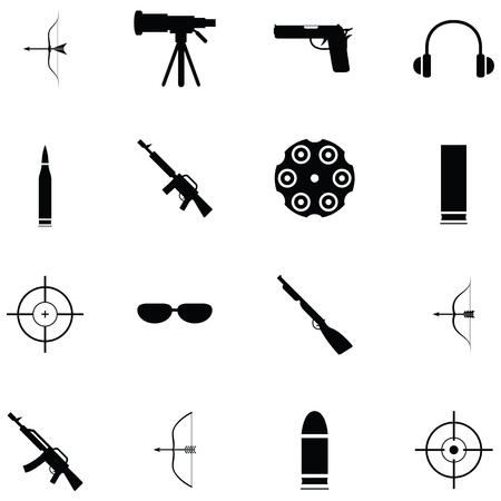 shooting range icon set