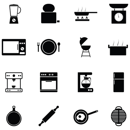 kitchen equipment icon set Vectores