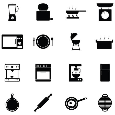 kitchen equipment icon set Vettoriali