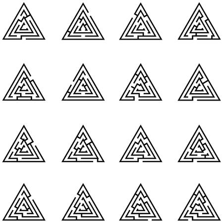 Maze triangle icon set