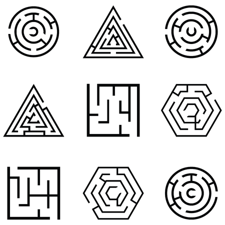 Maze in different shapes icon set Vectores