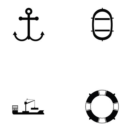 Harbor icon set vector illustration