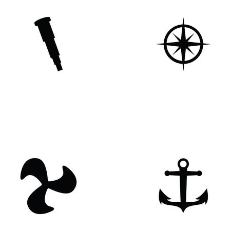Harbor icon set on white background, vector illustration.