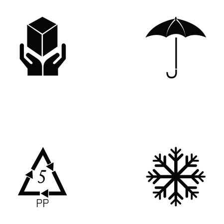 packaging symbols icon set