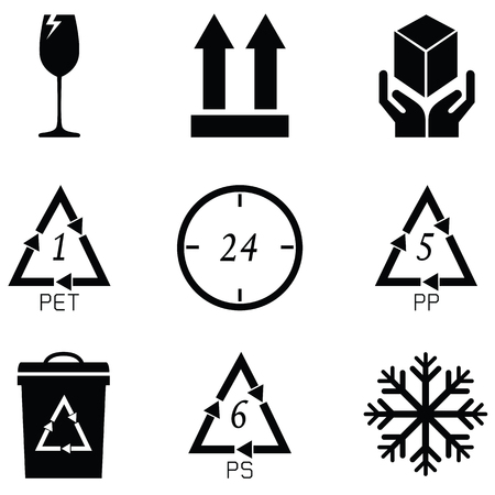 packaging symbols icon set Vector illustration.