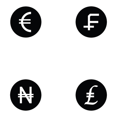currency icon set Vector illustration. Vettoriali