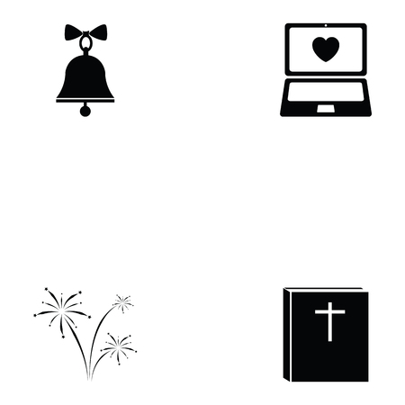 Collection of wedding concept in black and white Illustration. Illustration