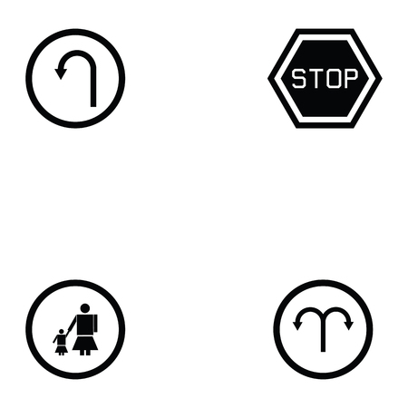 Collection of road sign concept in black and white Illustration.