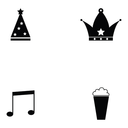 prom icon set with music and crown icons Illustration