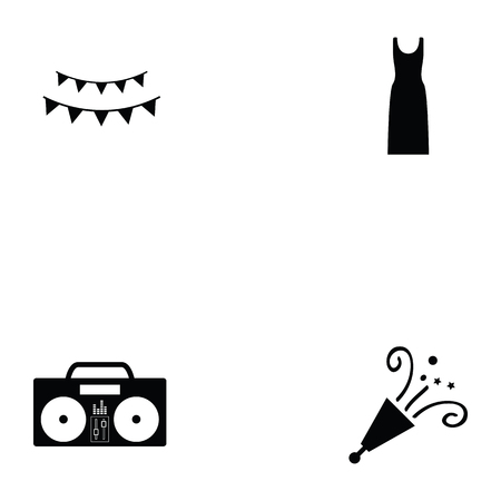 prom icon set with radio, champagne and dress Illustration