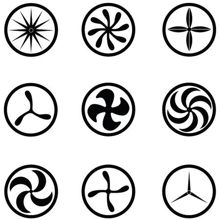 Turbine icon set illustration on white background.