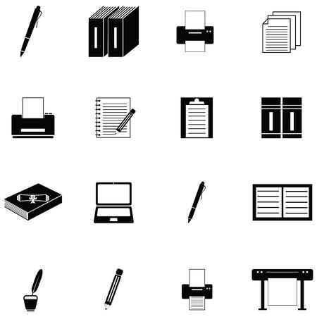 Writer icon set illustration on white background.