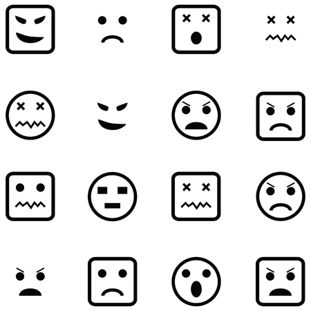 angry icon set Ilustracja