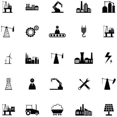 industry icon set Illustration