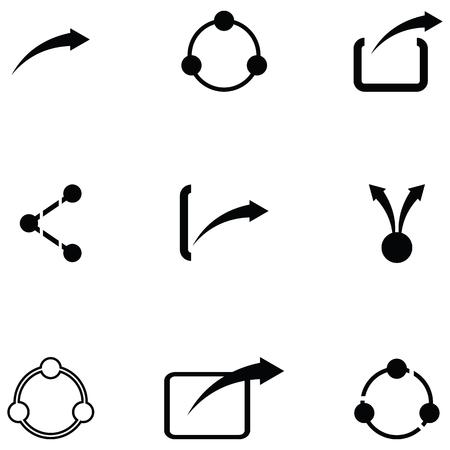 share icon set Ilustrace