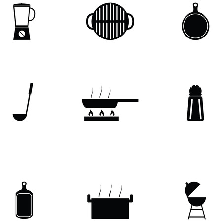 kitchen icon set Фото со стока - 124991524