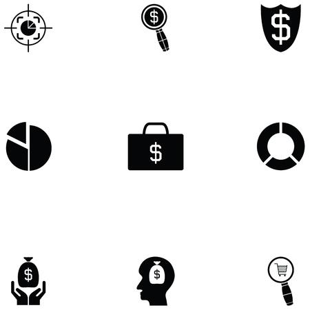 economy icon set Banco de Imagens - 124991545