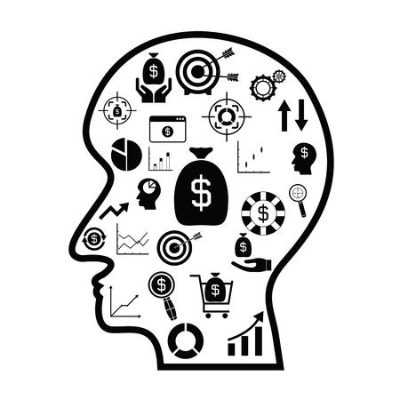 Human head with finance idea concept