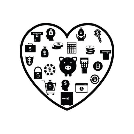 heart money concept Illustration