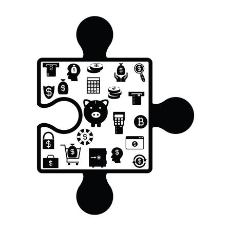 puzzle money concept Illustration