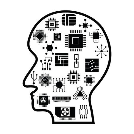 Human head with microchip idea concept Ilustração