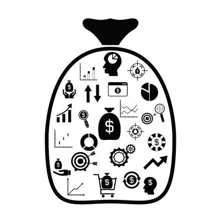 bag with finance idea concept Illustration