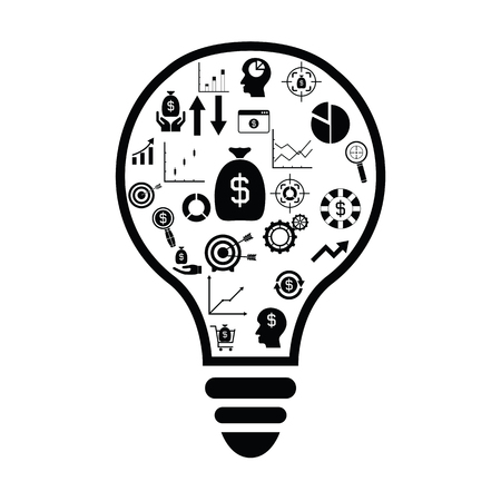 bulb with finance idea concept