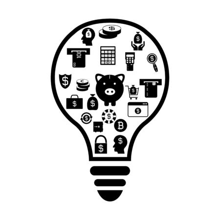 bulb with money idea concept