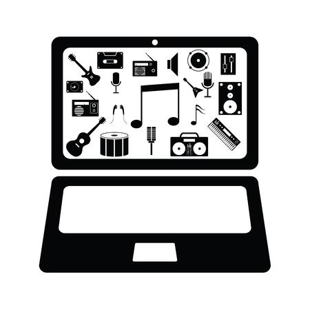 computer music concept Ilustração