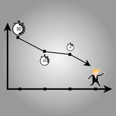 Business man running away time Иллюстрация