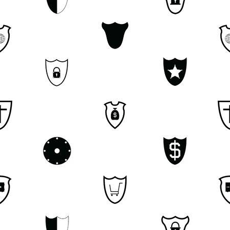 shield seamless pattern background icon. Ilustrace