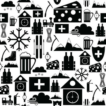 switzerland seamless pattern background icon. Ilustracja