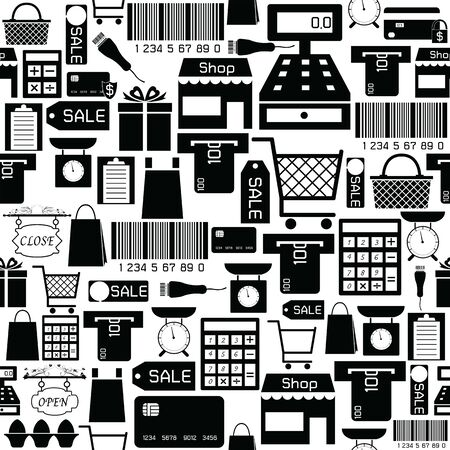 supermarket seamless pattern background icon. Illustration