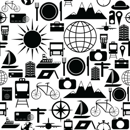 travel seamless pattern background icon.