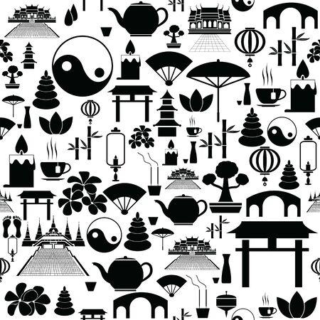 zen seamless pattern background icon.