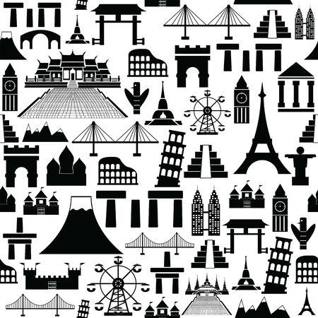world landmarks seamless pattern background icon.