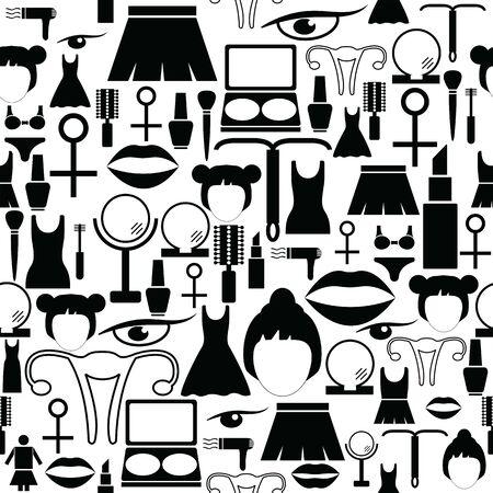 woman seamless pattern background icon.