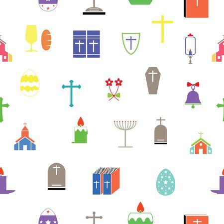 catholic seamless pattern background icon.