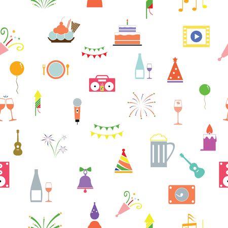 celebration seamless pattern background icon.
