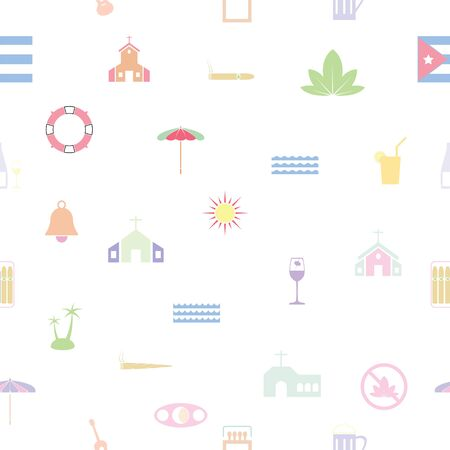 cuba seamless pattern background icon.  イラスト・ベクター素材