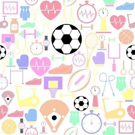 exercise seamless pattern background icon.