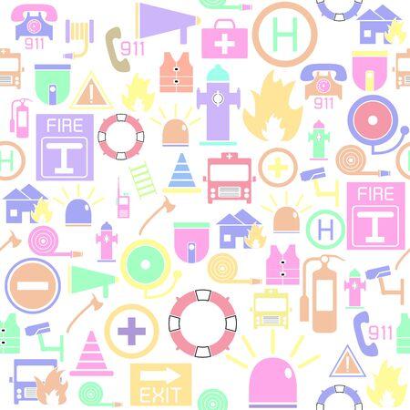 emergency seamless pattern background icon.