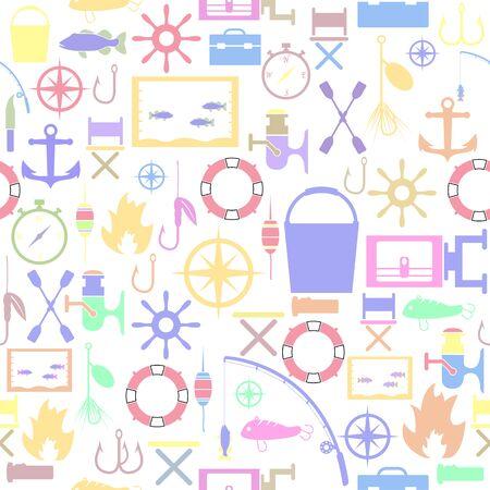fishing seamless pattern background icon.