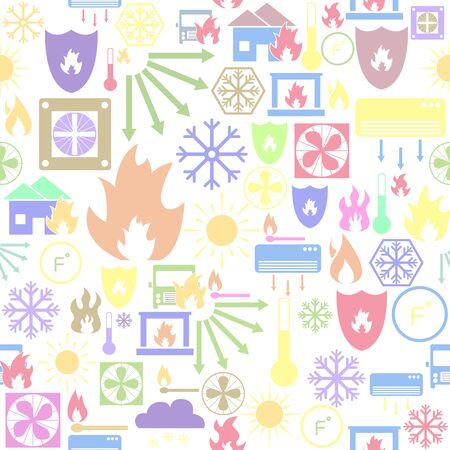 heat seamless pattern background icon.