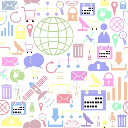 internet seamless pattern background icon.
