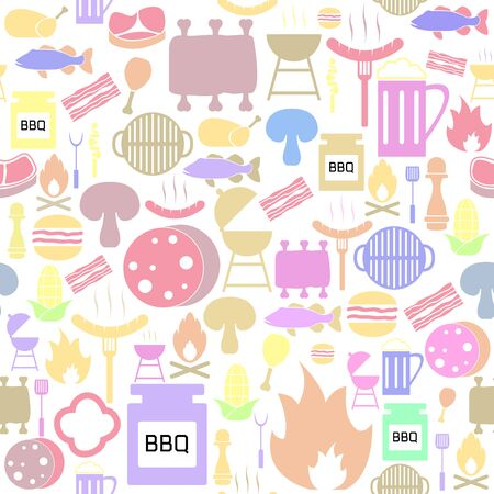 grill seamless pattern background icon. Illustration