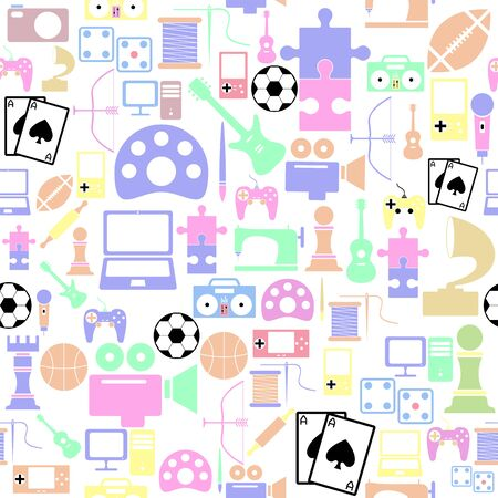 hobby seamless pattern background icon.