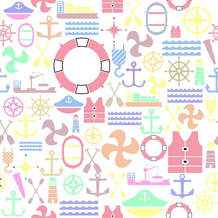 harbor seamless pattern background icon.