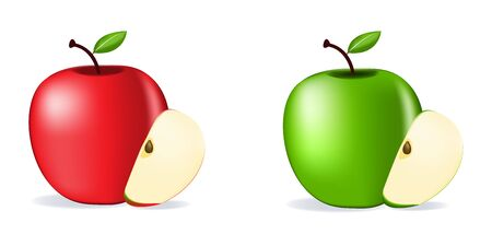 Red and Green Apples isolated on white background as package design composition. Ilustração