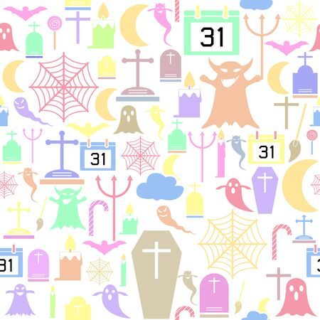 halloween seamless pattern background icon. Banco de Imagens - 134599885